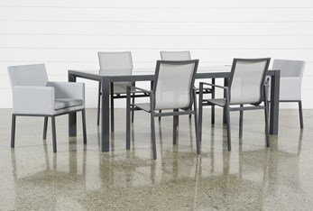 Ravelo Outdoor 7 Piece Dining Set With Sling And Upholstered Chairs