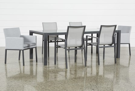 Outdoor Ravelo 7 Piece Dining Set With Sling And Upholstered Chairs