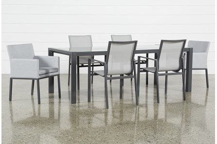 Outdoor Ravelo 7 Piece Dining Set With Sling And Upholstered Chairs - Main
