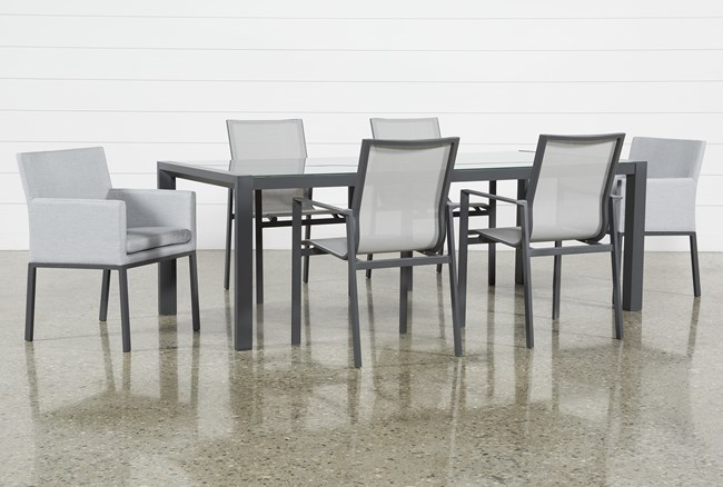 Outdoor Ravelo 7 Piece Dining Set With Sling And Upholstered Chairs - 360