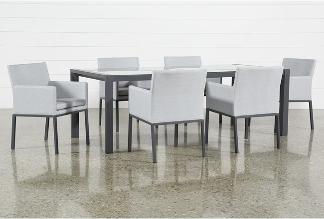 Ravelo Outdoor 7 Piece Dining Set With Upholstered Chairs - 360