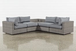 """Outdoor Koro 5 Piece 105"""" Sectional With Corner Storage Table"""