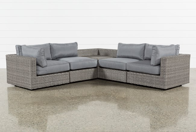 """Outdoor Koro 5 Piece 105"""" Sectional With Corner Storage Table - 360"""