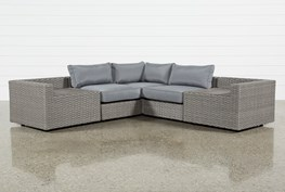 """Outdoor Koro 5 Piece 105"""" Sectional With 2 Storage Tables"""