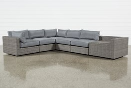 """Outdoor Koro 6 Piece 105"""" Sectional With Corner Storage Table"""