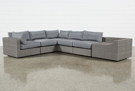 Outdoor Koro 6 Piece Sectional With Corner Storage Table