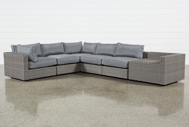 """Outdoor Koro 6 Piece 105"""" Sectional With Corner Storage Table - 360"""