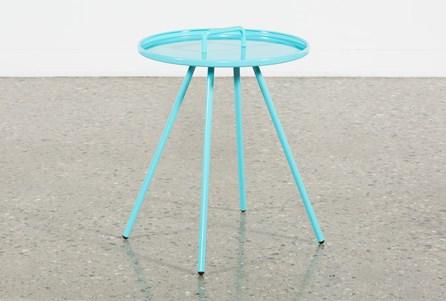 Outdoor Blue Metal Handle Table