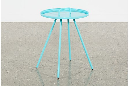 Outdoor Blue Metal Handle Table