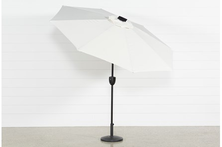Outdoor Market Beige Umbrella With Lights And Bluetooth