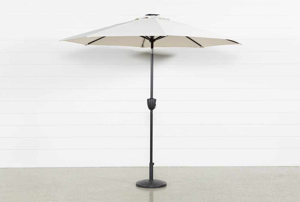 Market Outdoor Beige Umbrella With Lights And Bluetooth