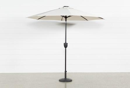 Outdoor Market Beige Umbrella With Lights And Bluetooth