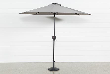 Outdoor Market Grey Umbrella With Lights And Bluetooth