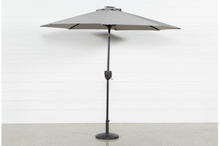 Outdoor Market Grey Umbrella With Lights And Bluetooth - Main