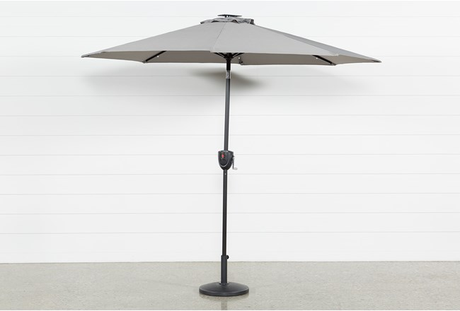 Market Outdoor Grey Umbrella With Lights And Bluetooth - 360