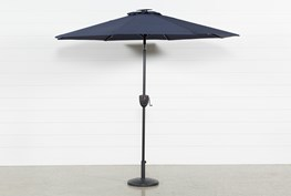 Outdoor Market Navy Umbrella With Lights And Bluetooth