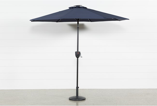 Market Outdoor Navy Umbrella With Lights And Bluetooth - 360
