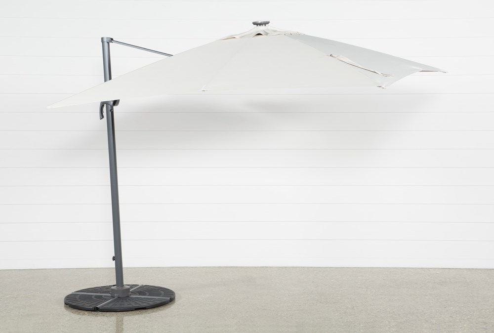 Cantilever Outdoor Beige Umbrella With Lights And Speaker