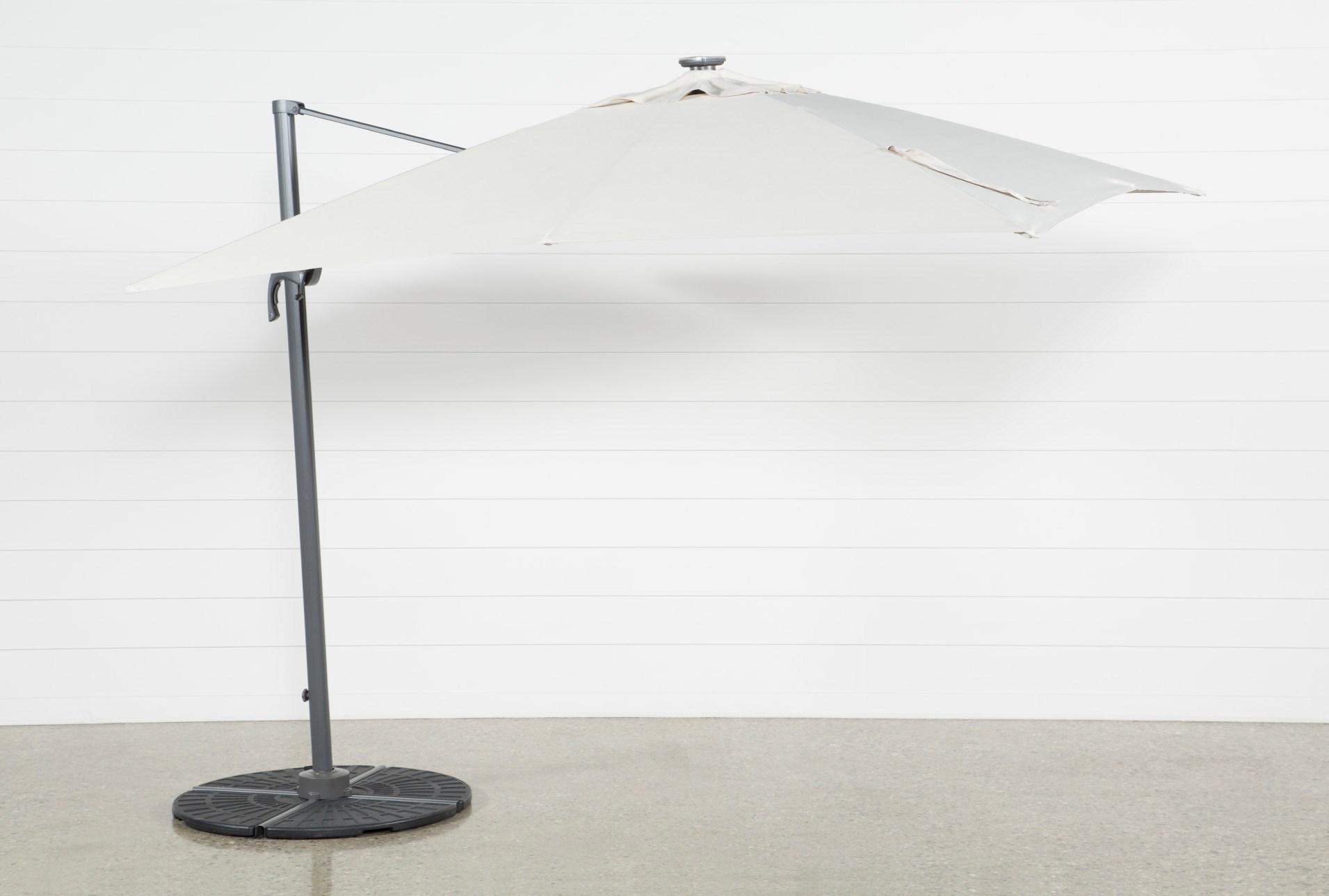 outdoor cantilever beige umbrella with lights and speaker living spaces. Black Bedroom Furniture Sets. Home Design Ideas