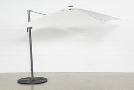 Outdoor Cantilever Beige Umbrella With Lights And Speaker
