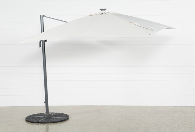 Cantilever Outdoor Beige Umbrella With Lights And Speaker   - 360