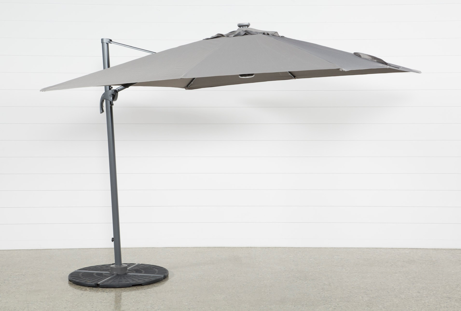 Outdoor Cantilever Grey Umbrella With Lights And Speaker Living Spaces