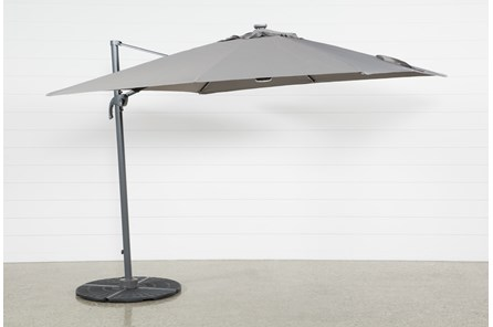 Outdoor Cantilever Grey Umbrella With Lights And Speaker - Main