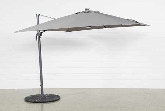 Cantilever Outdoor Grey Umbrella With Lights And Speaker