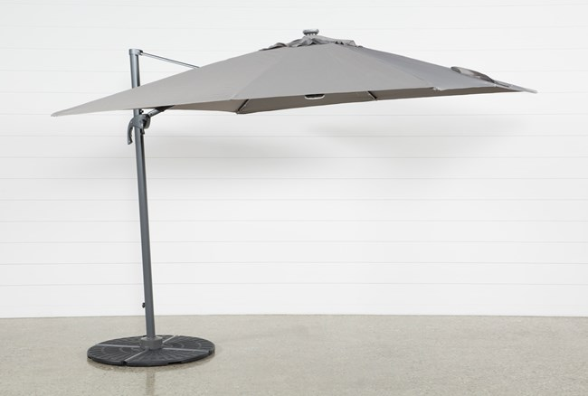 Outdoor Cantilever Grey Umbrella With Lights And Speaker - 360