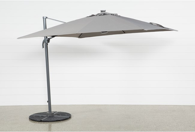 Cantilever Outdoor Grey Umbrella With Lights And Speaker  - 360