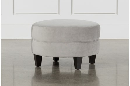 Adler Dove Fabric Small Round Ottoman