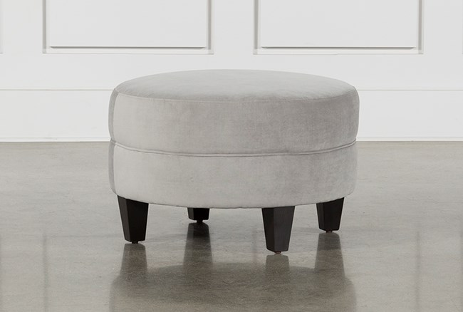 Adler Dove Fabric Small Round Ottoman - 360
