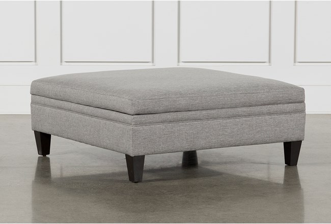 Adler Graphite Fabric Large Square Storage Ottoman
