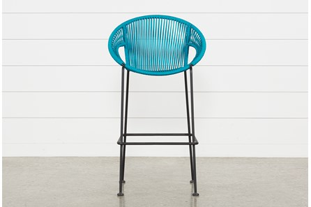 Outdoor Acapulco Turquoise Rope Bar Stool