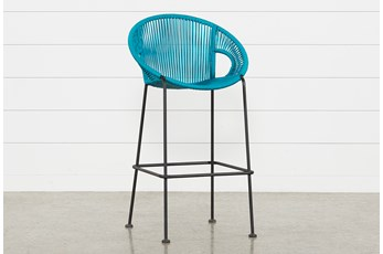 "Outdoor Acapulco Turquoise Rope 44"" Bar Stool"