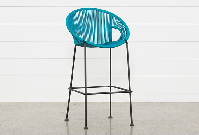 Outdoor Acapulco Turquoise Rope Bar Stool - 360