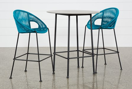 Outdoor Acapulco Turquoise 3 Piece Bar Set