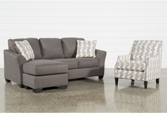 Tucker 2 Piece Living Room Set With Queen Sleeper And Accent Chair - 360