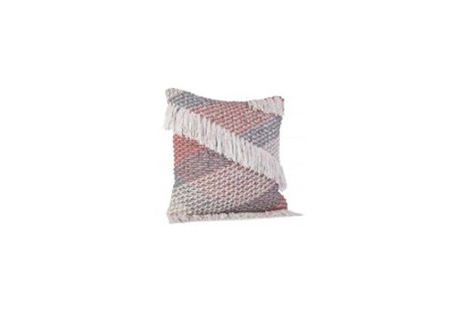 Accent Pillow-Grey And Apricot Fringe 22X22 - 360