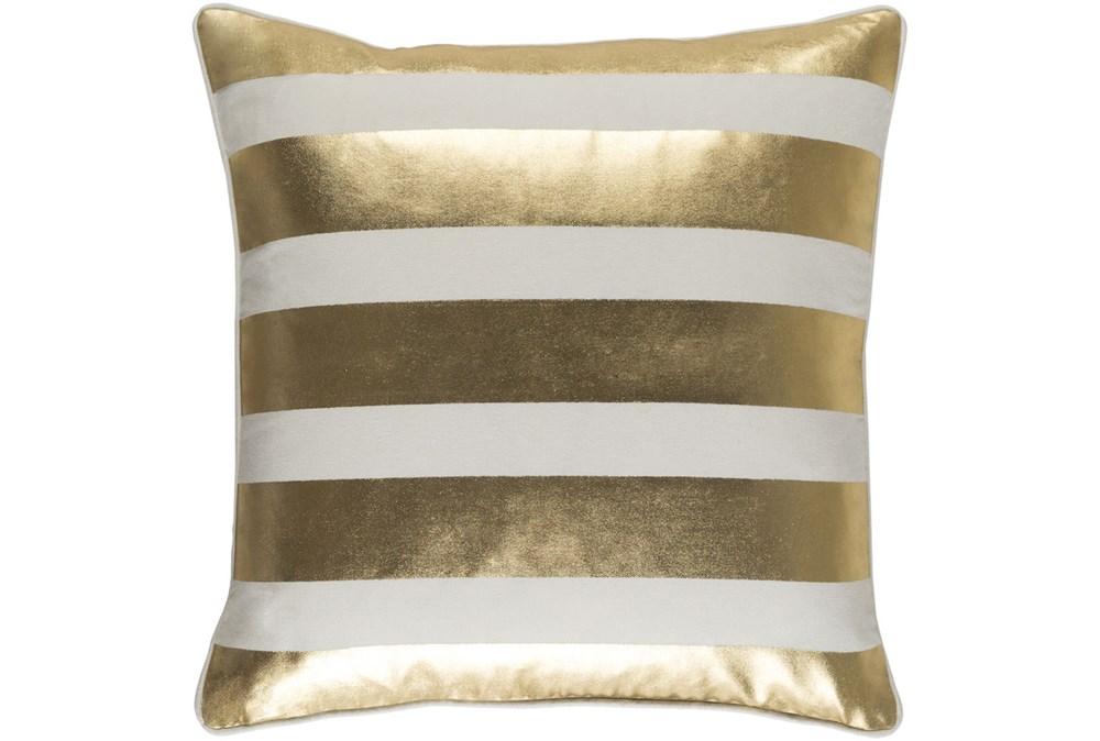 Accent Pillow-Bold Stripes Gold/White 18X18