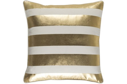 Accent Pillow-Bold Stripes Gold/White 18X18