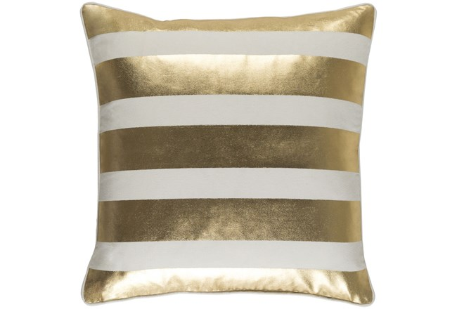 Accent Pillow-Bold Stripes Gold/White 18X18 - 360
