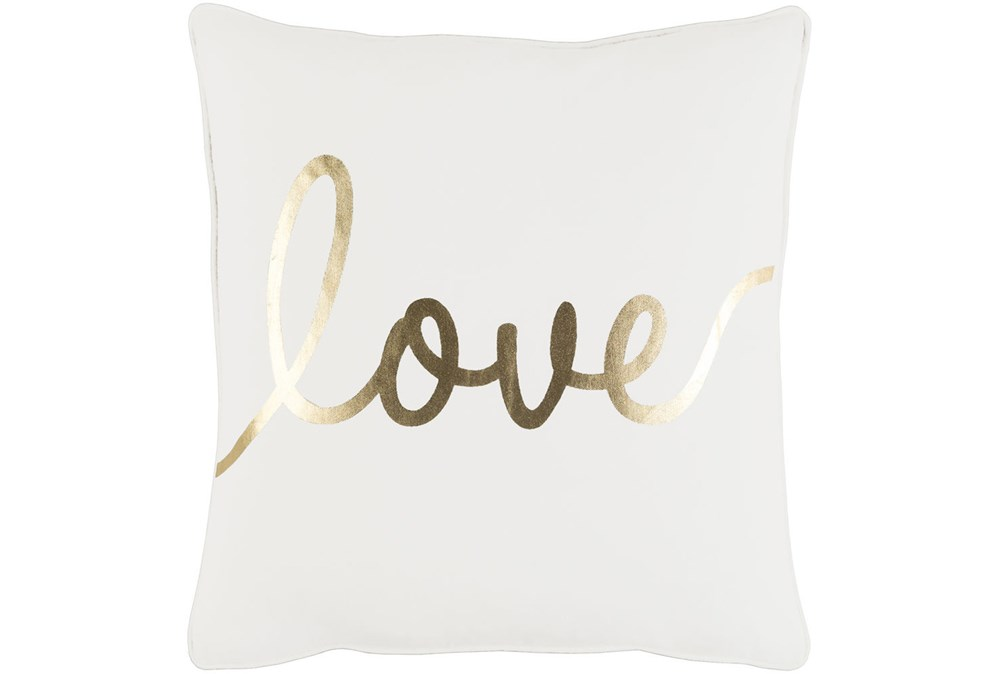 Accent Pillow-Love Gold/White 18X18