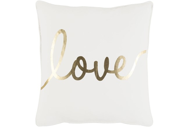 Accent Pillow-Love Gold/White 18X18 - 360