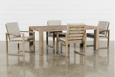 Malaga Outdoor 5 Piece Dining Set With Arm Chairs