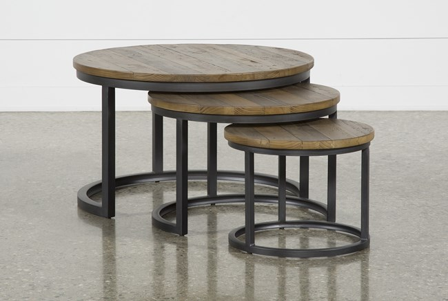 Marvin Rustic Natural 3 Piece Bunching Coffee Table - 360