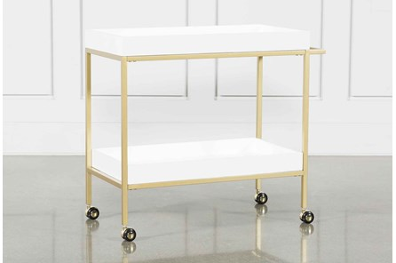 Brushed Gold And White Bar Cart - Main