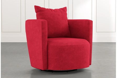 Twirl Red Swivel Accent Chair