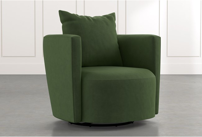 Twirl Green Swivel Accent Chair Living Spaces