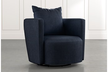 Twirl Navy Blue Swivel Accent Chair
